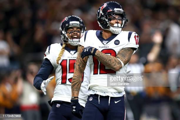 Kenny Stills of the Houston Texans celebrates with Will Fuller of the Houston Texans after scoring a touchdwon pass against the New Orleans Saints...
