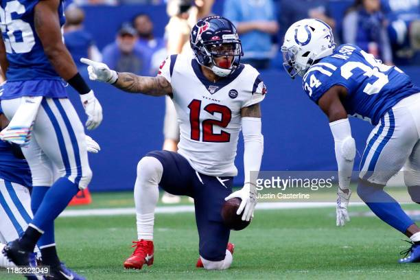 Kenny Stills of the Houston Texans signals for a first down after a play during the third quarter during the game against the Indianapolis Colts at...