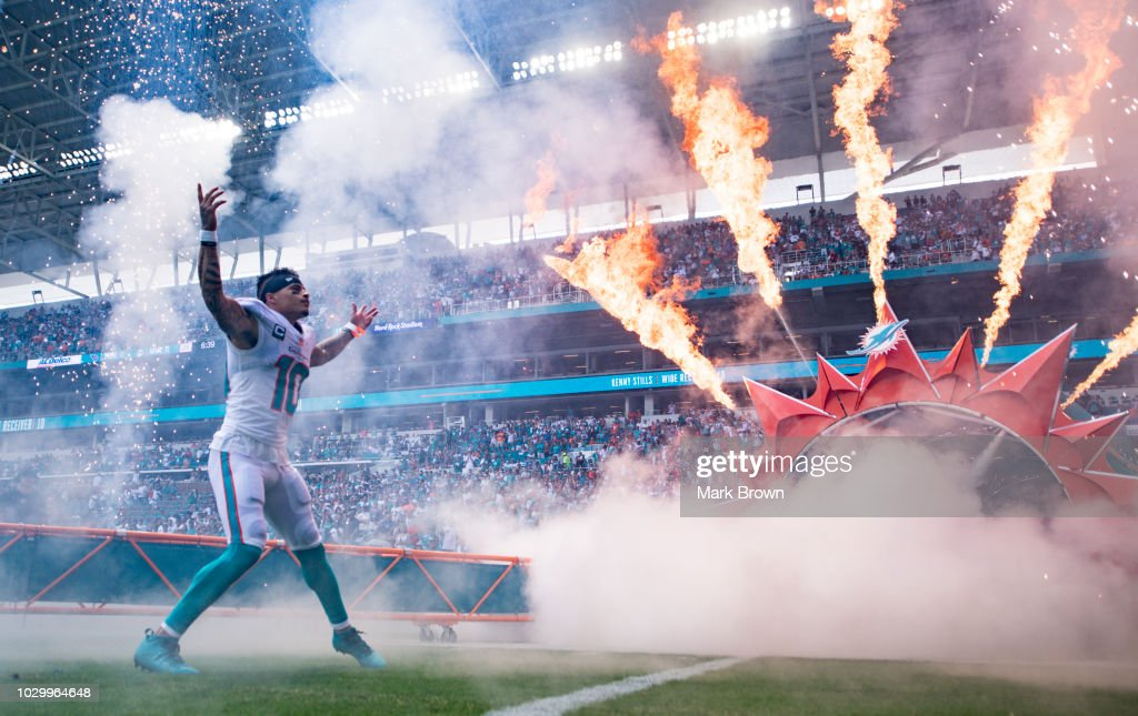 Kenny Stills #10 of the Miami Dolphins is introduced before the game between the Miami Dolphins and the Tennessee Titans at Hard Rock Stadium on September 9, 2018 in Miami, Florida.