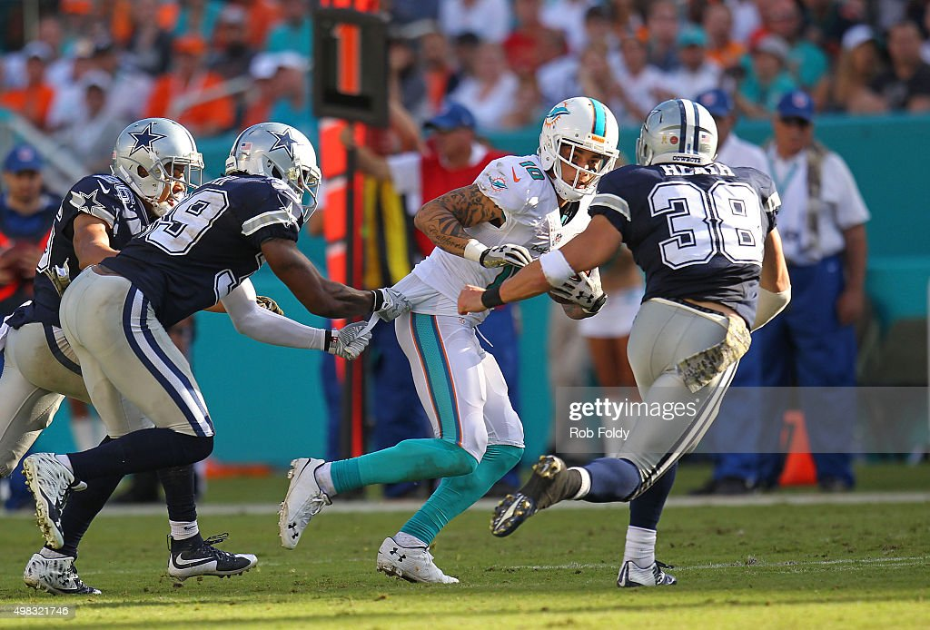 Kenny Stills #10 of the Miami Dolphins runs as Jeff Heath #38 of the Dallas Cowboys defends during the second half of the game at Sun Life Stadium on November 22, 2015 in Miami Gardens, Florida.