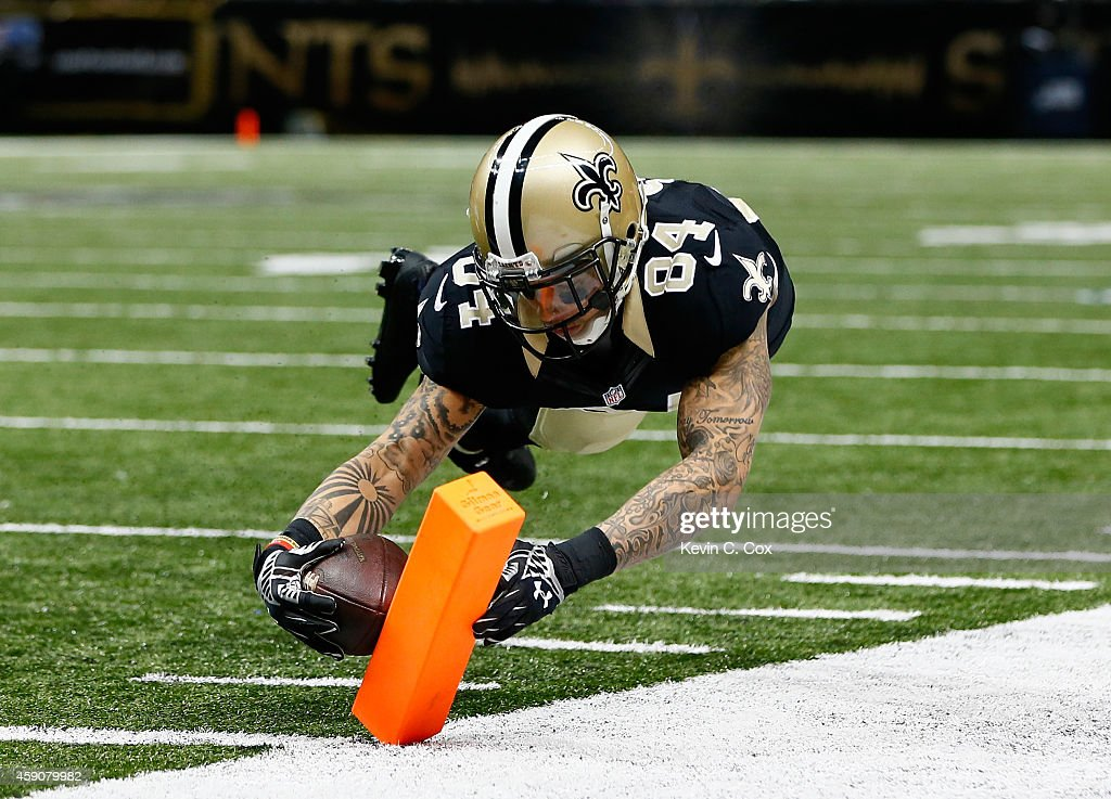 Kenny Stills #84 of the New Orleans Saints scores a touchdown against the Cincinnati Bengals during the second half at Mercedes-Benz Superdome on November 16, 2014 in New Orleans, Louisiana.