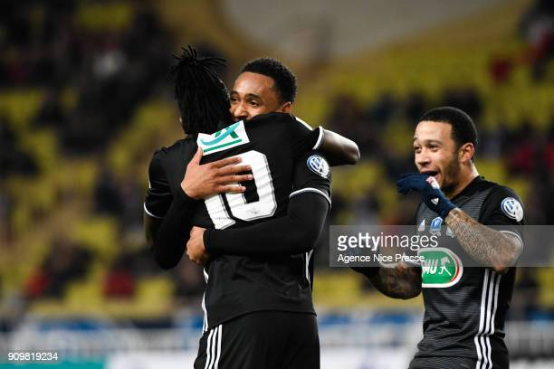 Kenny Tete and Bertrand Traore of Lyon celebrates his goal with teammates during the French National Cup match round of 32 between Monaco and Lyon on...