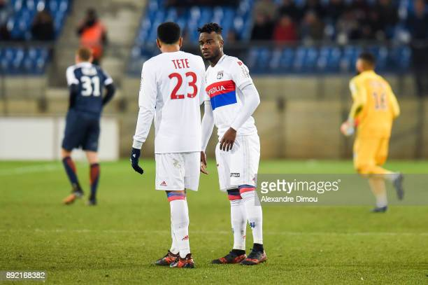 Kenny Tete and Maxwel Cornet of Lyon during the french League Cup match Round of 16 between Montpellier and Lyon on December 13 2017 in Montpellier...