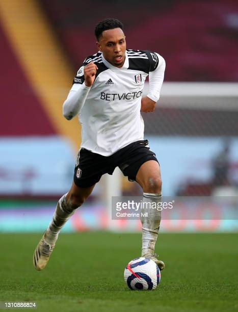 Kenny Tete of Fulham during the Premier League match between Aston Villa and Fulham at Villa Park on April 04, 2021 in Birmingham, England. Sporting...