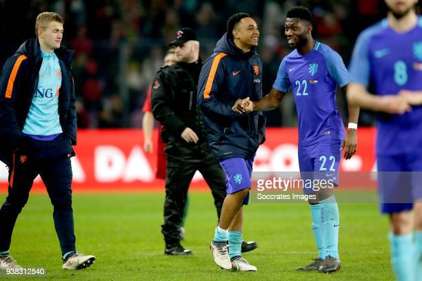 Kenny Tete of Holland Timothy Fosu Mensah of Holland celebrates the victory during the International Friendly match between Portugal v Holland at the...