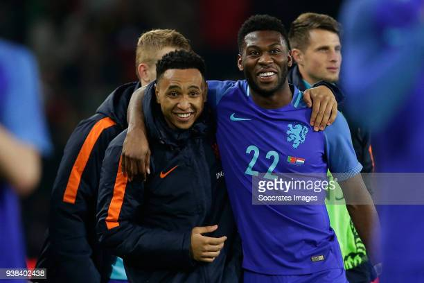 Kenny Tete of Holland Timothy Fosu Mensah of Holland during the International Friendly match between Portugal v Holland at the Stade de Geneve on...