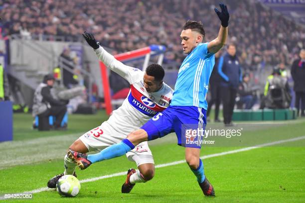 Kenny Tete of Lyon and Lucas Ocampos of Marseille during the Ligue 1 match between Olympique Lyonnais and Olympique Marseille at Parc Olympique on...