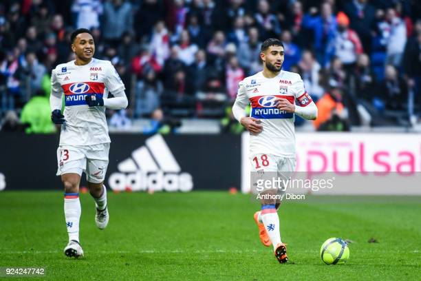 Kenny Tete of Lyon and Nabil Fekir of Lyon during the Ligue 1 match between Olympique Lyonnais and AS SaintEtienne at Parc Olympique on February 25...