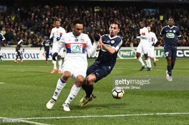 Kenny Tete of Lyon and Ruben Aguilar of Montpellier during the French Cup match between Montpellier and Lyon at Stade de la Mosson on February 7 2018...