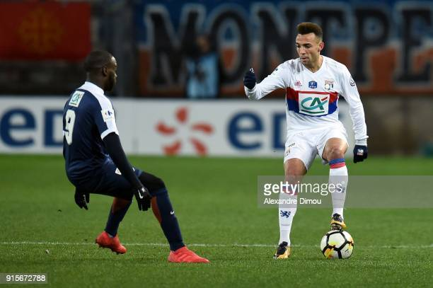 Kenny Tete of Lyon during the French Cup match between Montpellier and Lyon at Stade de la Mosson on February 7 2018 in Montpellier France