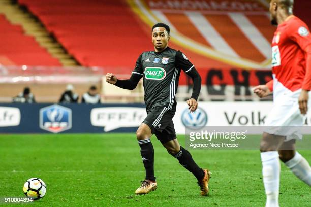 Kenny Tete of Lyon during the French National Cup match round of 32 between Monaco and Lyon on January 24 2018 in Monaco Monaco
