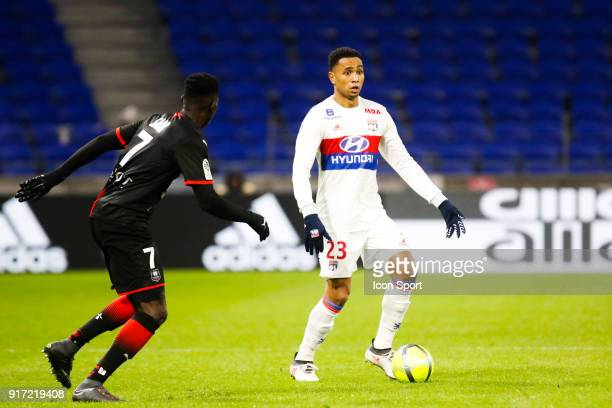 Kenny Tete of Lyon during the Ligue 1 match between Olympique Lyonnais and Stade Rennes at Parc Olympique on February 11 2018 in Lyon