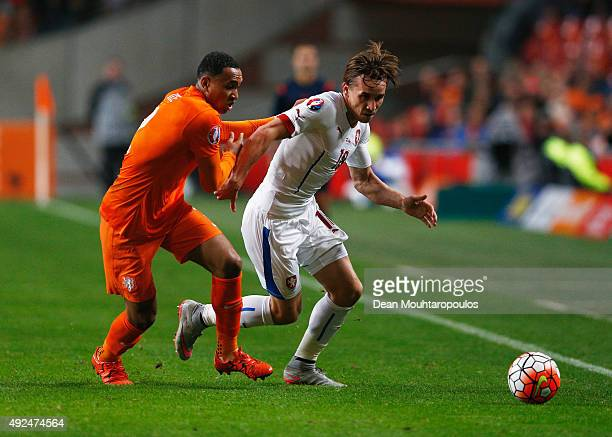 Kenny Tete of the Netherlands battles with Josef Sural of the Czech Republic during the UEFA EURO 2016 qualifying Group A match between the...