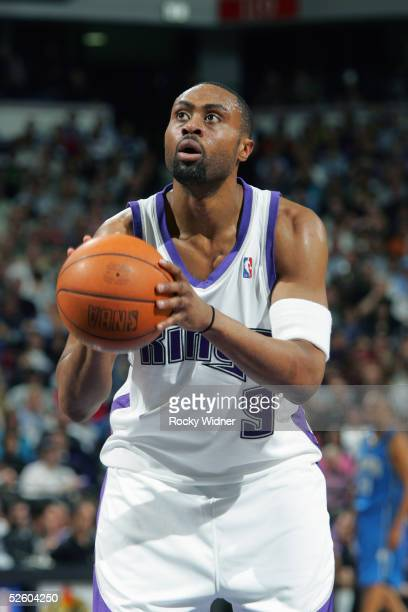 Kenny Thomas of the Sacramento Kings shoots a free throw against the Orlando Magic during the game at Arco Arena on March 15 2005 in Sacramento...