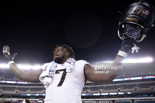 Kenny Turnier of the UCF Knights reacts against the Temple Owls at Lincoln Financial Field on October 26, 2019 in Philadelphia, Pennsylvania.