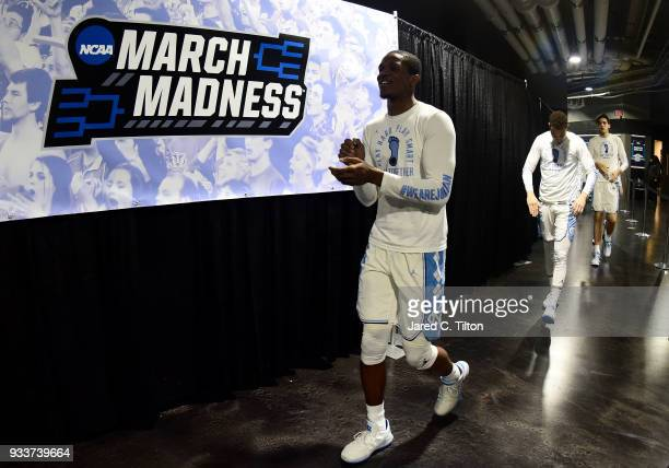 Kenny Williams of the North Carolina Tar Heels and teammates walk to the court before their game against the Texas AM Aggies in the second round of...