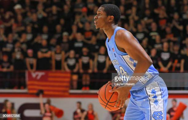 Kenny Williams of the North Carolina Tar Heels looks down the court during the game against the Virginia Tech Hokies at Cassell Coliseum on January...