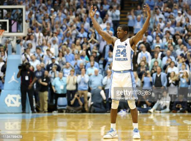 Kenny Williams of the North Carolina Tar Heels reacts after a play against the Duke Blue Devils during their game at Dean Smith Center on March 09...