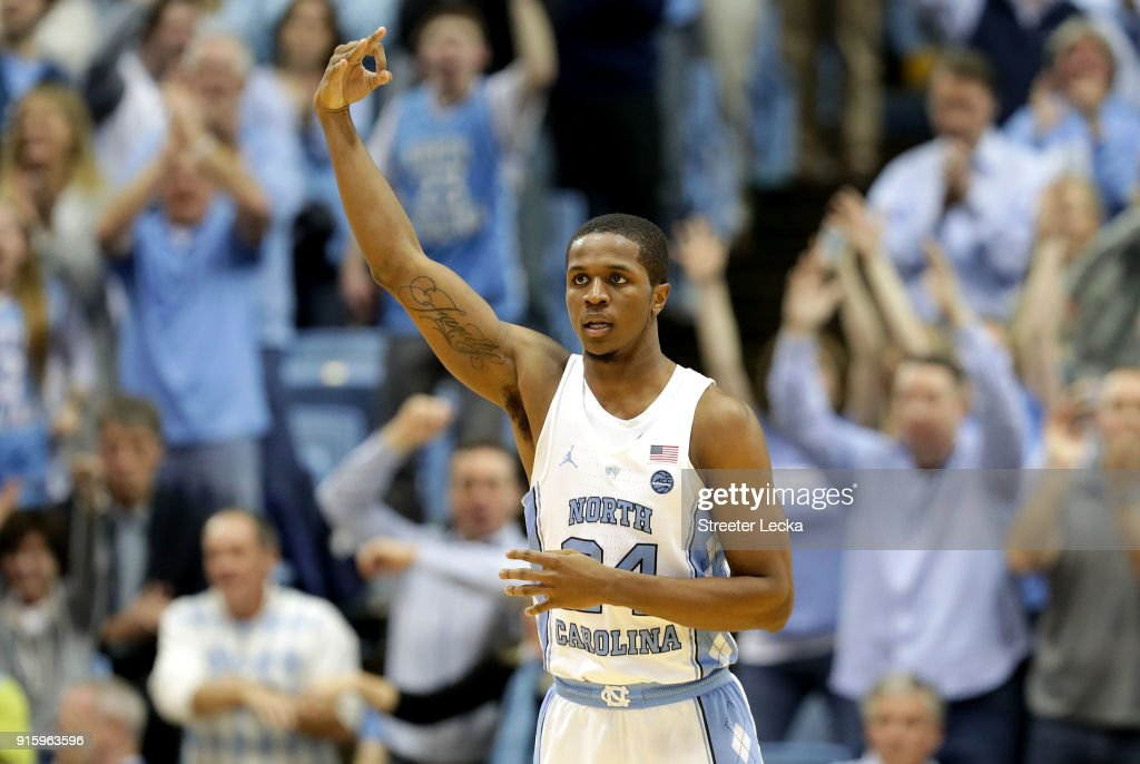 Kenny Williams #24 of the North Carolina Tar Heels reacts after a play against the Duke Blue Devils during their game at Dean Smith Center on February 8, 2018 in Chapel Hill, North Carolina.