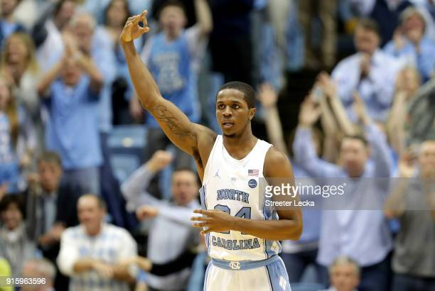 Kenny Williams of the North Carolina Tar Heels reacts after a play against the Duke Blue Devils during their game at Dean Smith Center on February 8,...