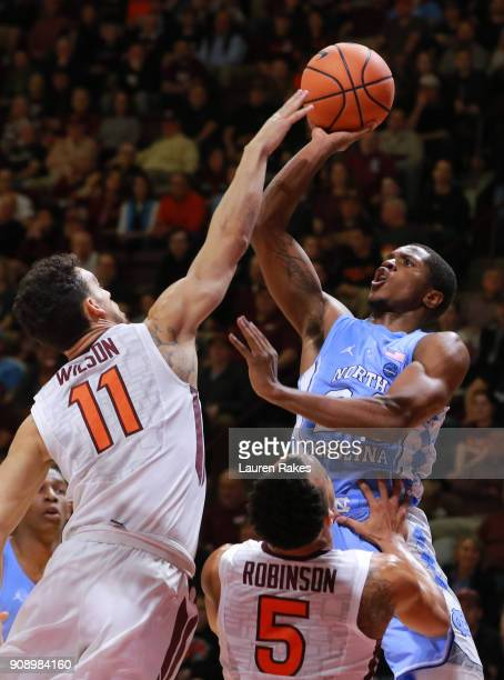 Kenny Williams of the North Carolina Tar Heels shoots against the Virginia Tech Hokies in the first half at Cassell Coliseum on January 22 2018 in...