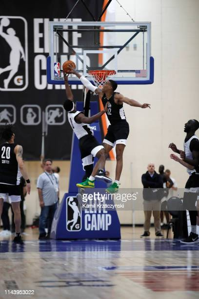 Kenny Wooten contests a shot during the afternoon session of Day Two of the NBA G League Elite Mini Camp on May 13 2019 at the Quest Multisport...