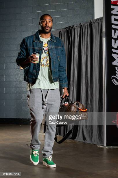 Kenny Wooten of the New York Knicks arrives for the game against the Houston Rockets on February 24 2020 at the Toyota Center in Houston Texas NOTE...