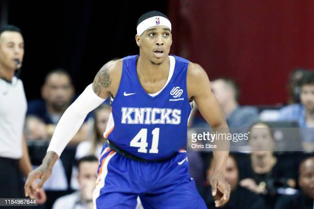 Kenny Wooten of the New York Knicks handles the ball during the game against the the Phoenix Suns during Day 3 of the 2019 Las Vegas Summer League on...