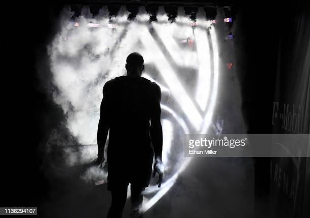 Kenny Wooten of the Oregon Ducks is introduced before the championship game of the Pac12 basketball tournament against the Washington Huskies at...