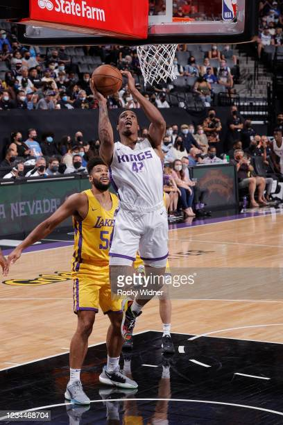 Kenny Wooten of the Sacramento Kings shoots the ball against the Los Angeles Lakers during the 2021 California Classic Summer League on August 4,...