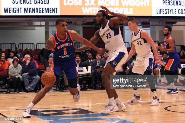 Kenny Wooten of the Westchester Knicks dribbles the ball against the Santa Cruz Warriors on December 4 2019 at the Westchester County Center NOTE TO...