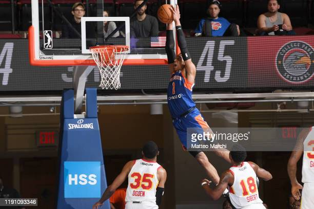 Kenny Wooten of the Westchester Knicks dunks the ball against the College Park Skyhawks at the Westchester County Center on December 30 2019 in...