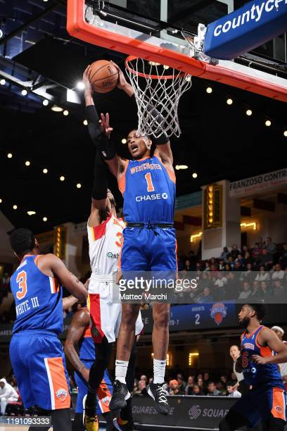 Kenny Wooten of the Westchester Knicks gets a rebound against the College Park Skyhawks at the Westchester County Center on December 30 2019 in...