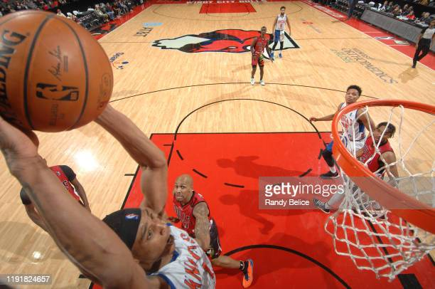 Kenny Wooten of the Westchester Knicks goes for a dunk during the game against the Windy City Bulls at the Sears Centre on January 4 2020 in Hoffman...