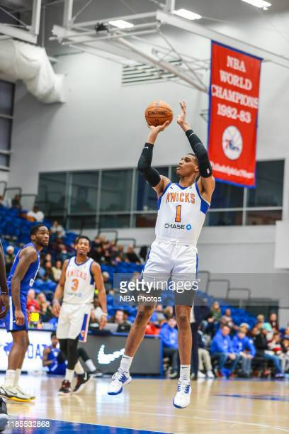 Kenny Wooten of the Westchester Knicks shoots the ball against the Delaware Blue Coats during an NBA GLeague game on November 29 2019 at 76ers...