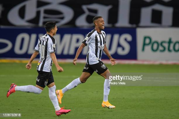 Keno and Savarino of Atletico MG celebrate a scored goal against Gremio during a match between Atletico MG and Gremio as part of Brasileirao Series A...