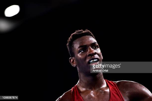 Keno Machado of Brazil celebrates after winning in Men's Middle Gold Medal Bout during day 11 of Buenos Aires 2018 youth Olympic Games at Oceania...