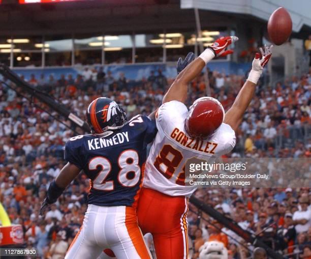 Kenoy Kennedy of the Broncos breaks up a TD catch to Tony Gonzalez of the Chiefs