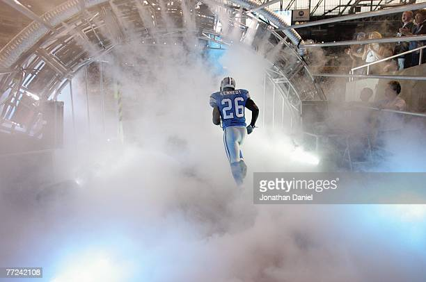 Kenoy Kennedy of the Detroit Lions runs onto the field before the game against the Chicago Bears on September 30 2007 at Ford Field in Detroit...