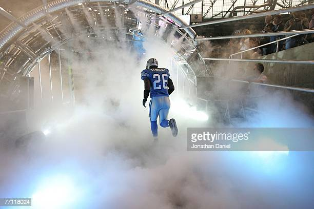 Kenoy Kennedy of the Detroit Lions runs onto the field during player introductions before a game against the Chicago Bears on September 30 2007 at...