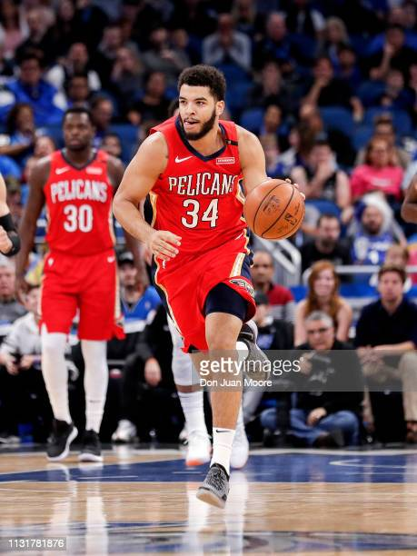 Kenrich Williams of the New Orlean Pelicans bring the ball up court during the game against the Orlando Magic at the Amway Center on March 20 2019 in...