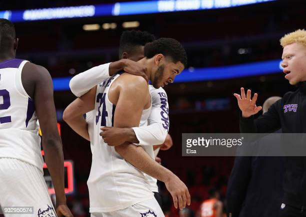 Kenrich Williams of the TCU Horned Frogs reacts with teammates after being defeated by the Syracuse Orange 5752 in the first round of the 2018 NCAA...