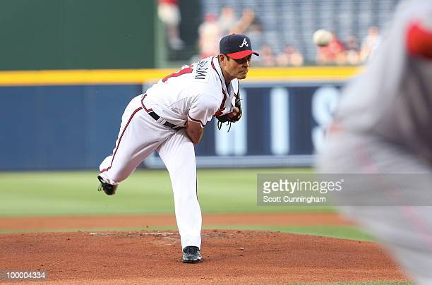 Kenshin Kawakami of the Atlanta Braves pitches against the Cincinnati Reds at Turner Field on May 19 2010 in Atlanta Georgia The Braves defeated the...