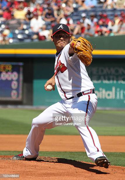 Kenshin Kawakami of the Atlanta Braves pitches against the Detroit Tigers at Turner Field on June 26 2010 in Atlanta Georgia The Braves defeated the...
