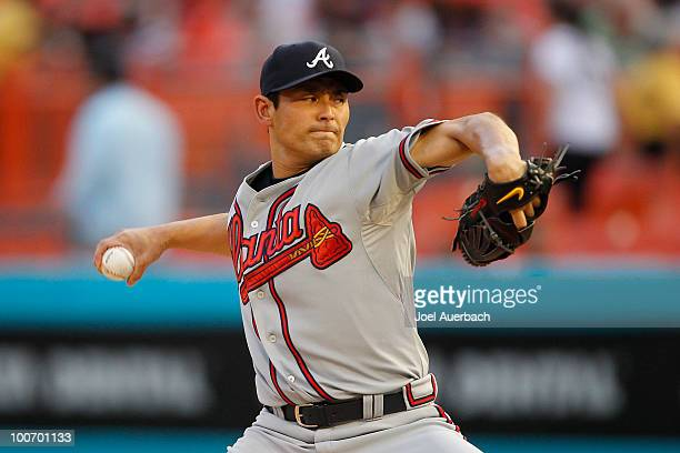 Kenshin Kawakami of the Atlanta Braves pitches against the Florida Marlins during the first inning at Sun Life Stadium on May 25 2010 in Miami Florida