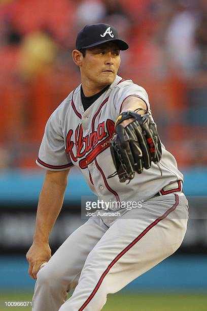 Kenshin Kawakami of the Atlanta Braves pitches against the Florida Marlins during the first inning at Sun Life Stadium on May 25 2010 in Miami...