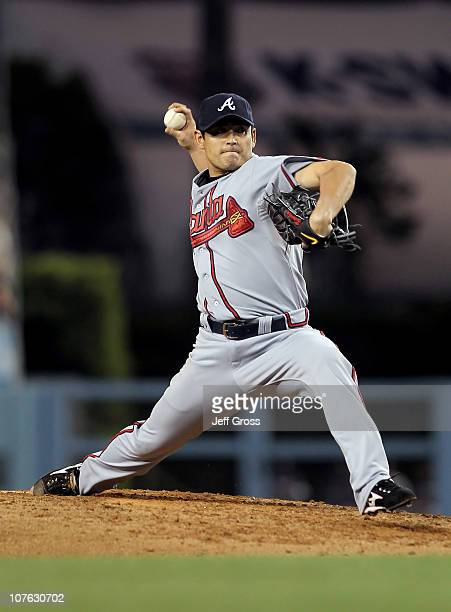 Kenshin Kawakami of the Atlanta Braves pitches against the Los Angeles Dodgers at Dodger Stadium on June 4 2010 in Los Angeles California