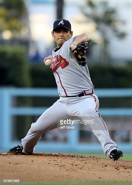 Kenshin Kawakami of the Atlanta Braves pitches against the Los Angeles Dodgers in the second inning at Dodger Stadium on June 4 2010 in Los Angeles...