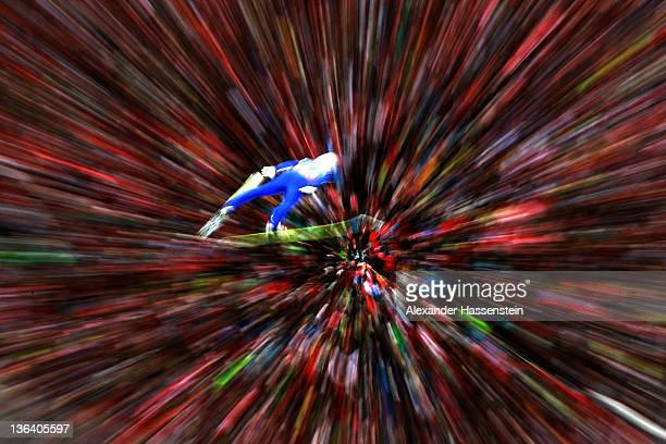 Kenshiro Ito of Japan competes during the first round of the FIS Ski Jumping World Cup event at the 60th Four Hills ski jumping tournament at...