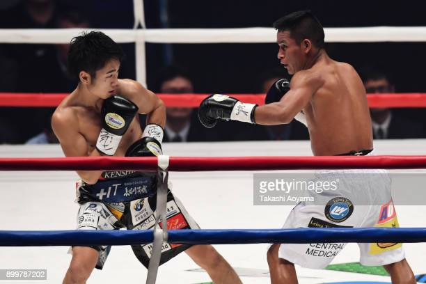 Kenshiro Teraji of Japan faces Gilberto Pedroza of Panama during their WBC Light flyweight Title Bout at the Yokohama Cultural Gymnasium on December...